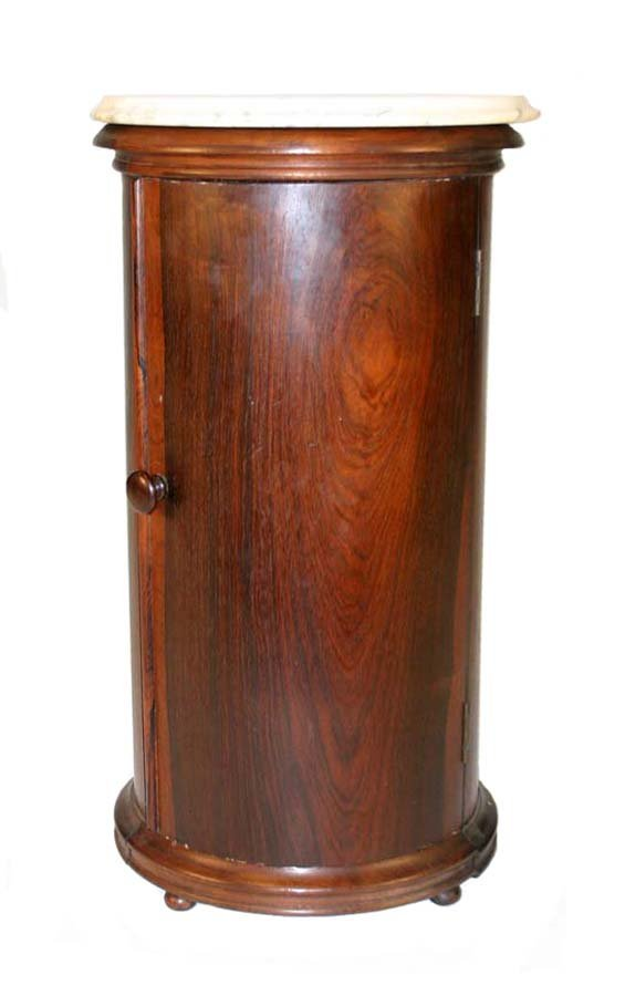 1: Rare Victorian Round Rosewood Marble Top Bedside Com