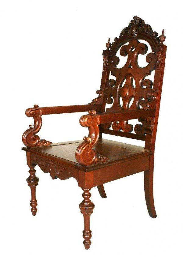 2: American Renaissance Revival Open Arm Hall Chair wit