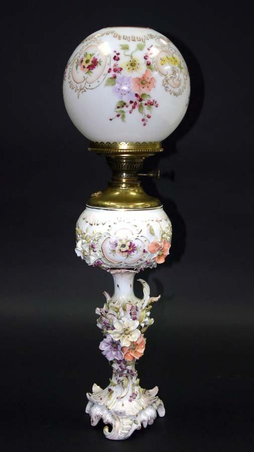 4: 19th c Meissen Porcelain Banquet Oil Lamp with Raise