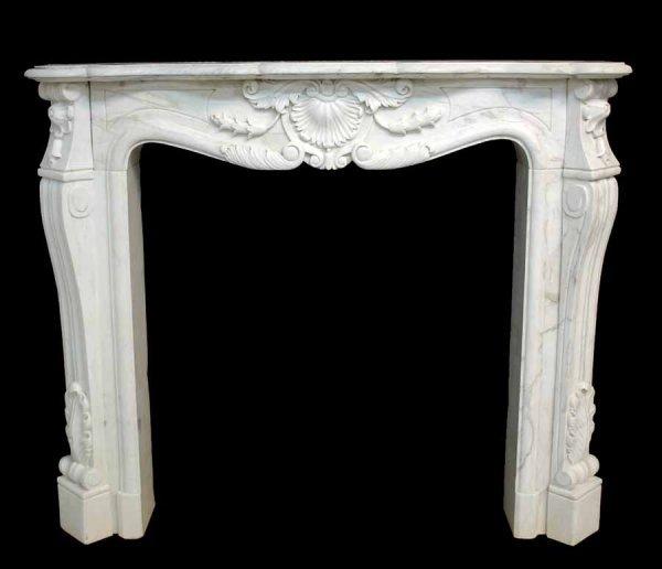 5: Italian White Carrera Marble Louis XV Style Mantle w