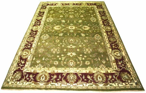 6: Natural Dyed Rug with Pale Olive Ground and Burgandy