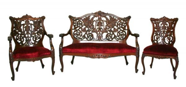7: Victorian Mahogany Parlor Set with Curved, Laminated
