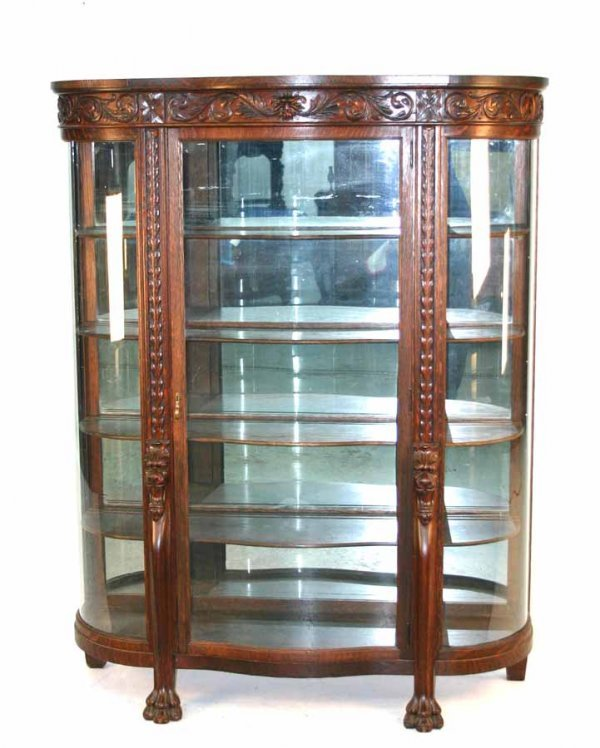 17: American Golden Oak Griffin Carved Curved Glass Chi