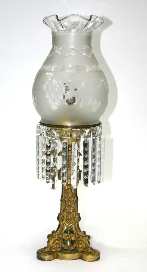 20: Bronze Victorian Astral Lamp. Ornate Gilt Bronze Ba