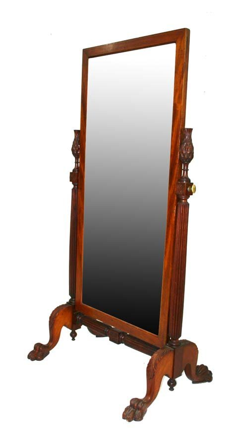 22: Mahogany Chippendale Style Carved Cheval Mirror. Re