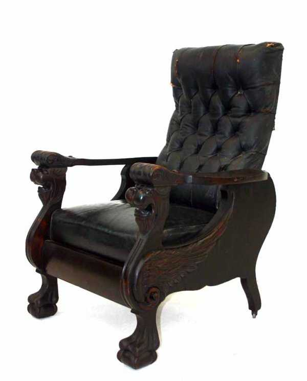 - 33: Antique Carved Winged Griffin Mahogany Morris Chair