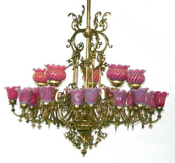 62: Victorian Grand Baroque Bronze 25-Light Chandelier