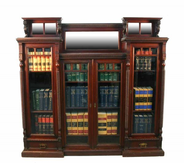 110: Unusual Victorian Mahogany Griffin Carved Bookcase