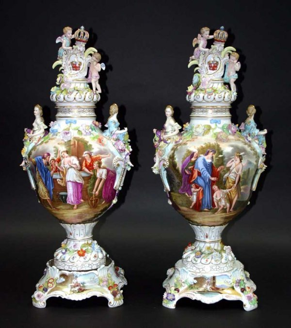 163: Pair 19th c Meissen Palace Size Urns. Decorated wi
