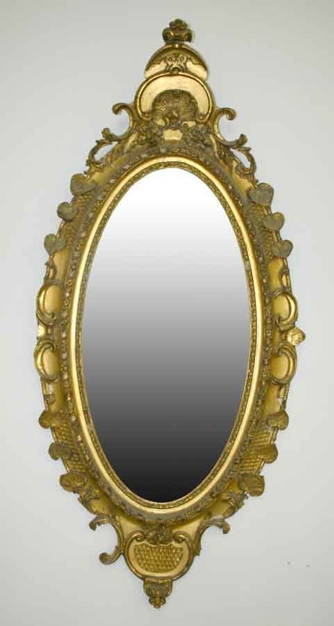 2: Victorian Oval Carved & Gilded Parlor Mirror. C 1860