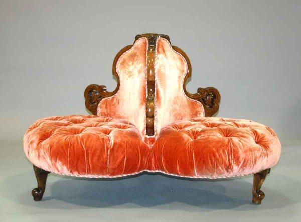 3: Rare Victorian Tete-a-Tete / Hotel Lobby Seat