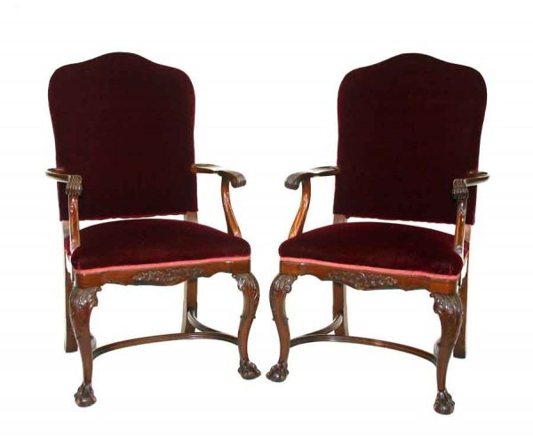 5: Pair of Chippendale Mahogany Open Arm Parlor Chairs