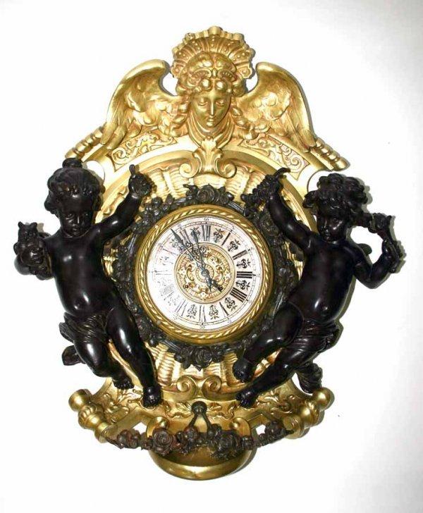 6: Lenzkirch Bronze & Gilt Figural Wall Clock in Good W