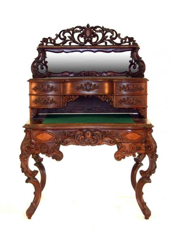11: Victorian Rococo Carved Ladies Writing Desk with Mi