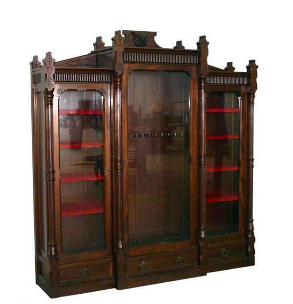 12: Extremely Rare Victorian Walnut 3-Door Gun Cabinet