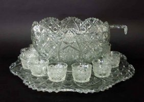 13 Antique Pressed Glass Punch Bowl Set With 12 Cups