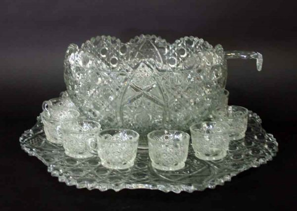 13: Antique Pressed Glass Punch Bowl Set with 12 cups,