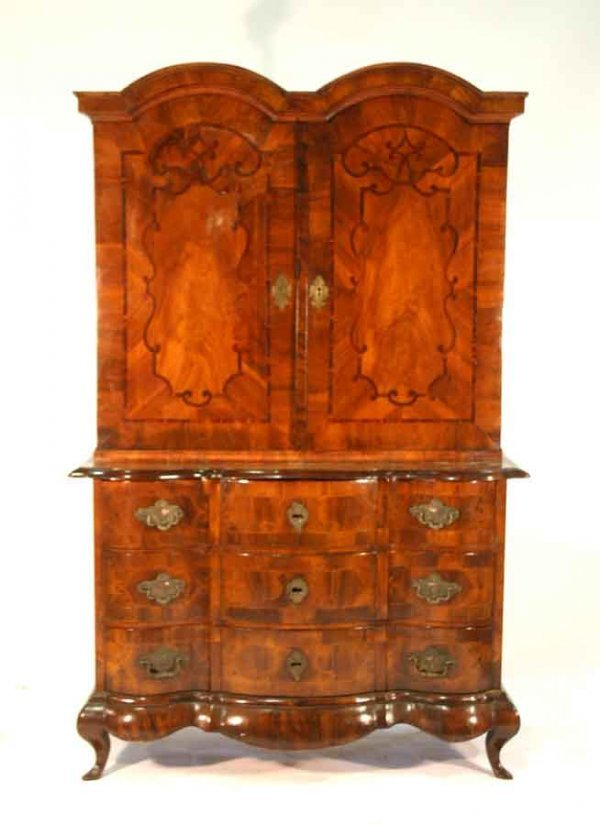 14: Period Dutch Inlaid Walnut Cabinet on Chest. Double