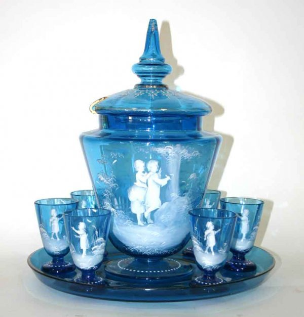 16: Mary Gregory Blue Glass Lidded Punch Bowl Set