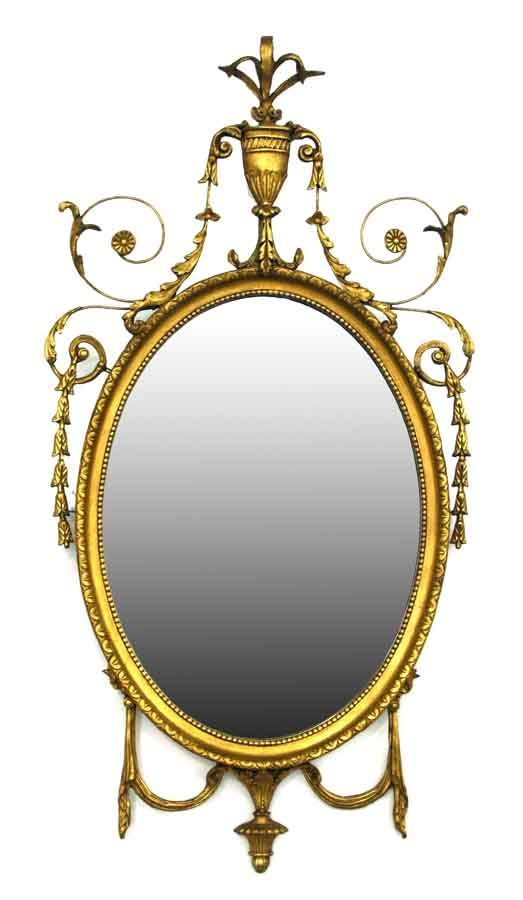 18: Robert Adam Style Gilt Mirror having Urn, Leaf & Fl