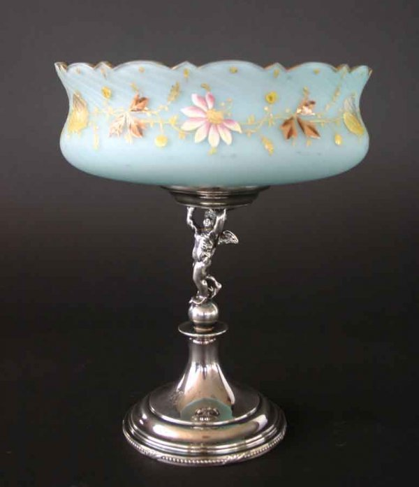 19: Hand Enameled Victorian Satin Glass Compote on Orig