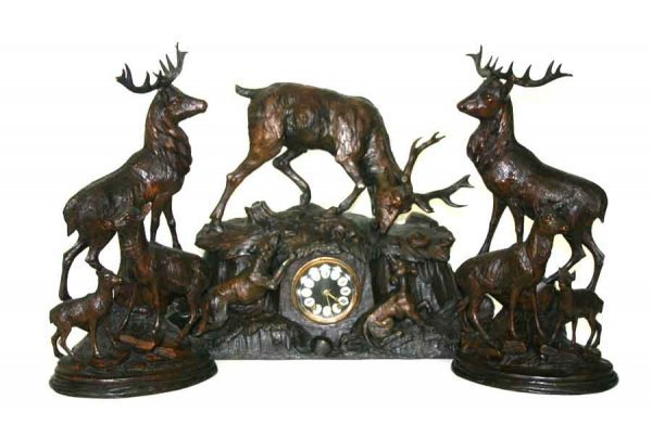23: Antique 3 Pc Black Forest Carved Clock Set Having E