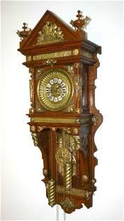 61: Rare Ansonia Oak & Bronze Hanging Wall Clock in Exc