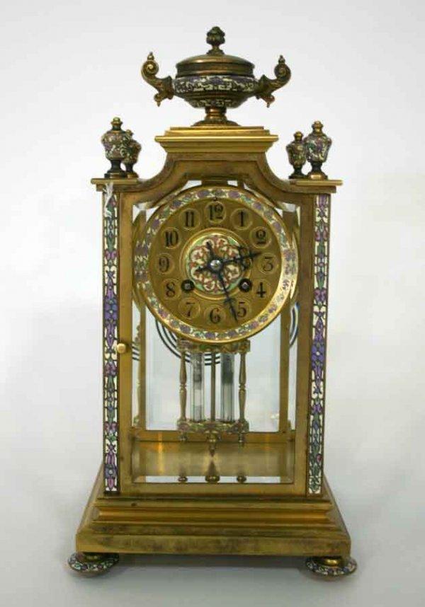 88: Very Rare 19th c Bronze & Enamel Carriage Clock wit