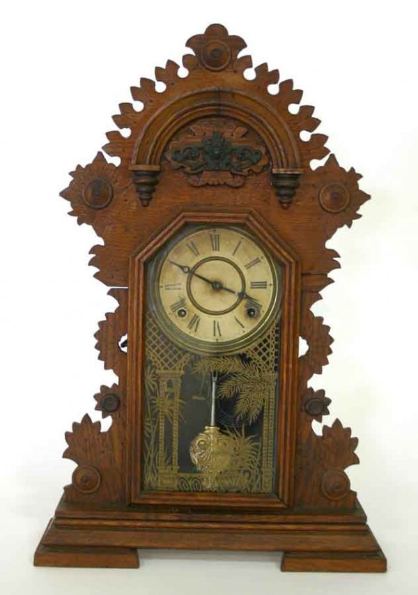 "201: Victorian Walnut Mantle Clock. 25""h x 16""w"
