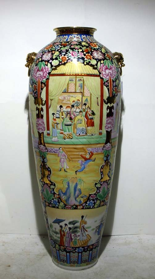 1: Large Chinese Temple Jar, Hand Painted & Gilt Enamel