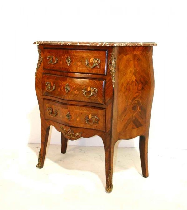 2: 19th c French Marble Top Bombay Commode with Parquet