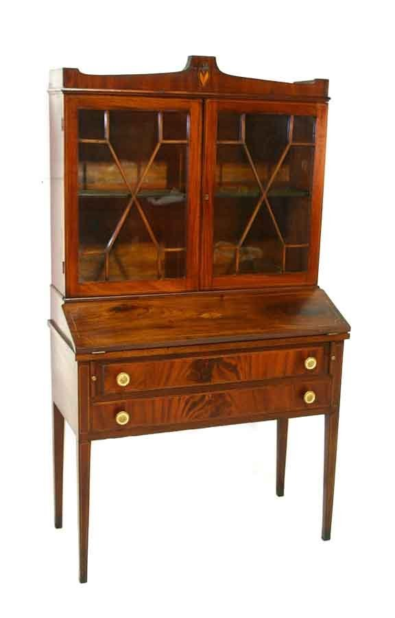 6: American Federal Mahogany Writing Cabinet. Shaped To