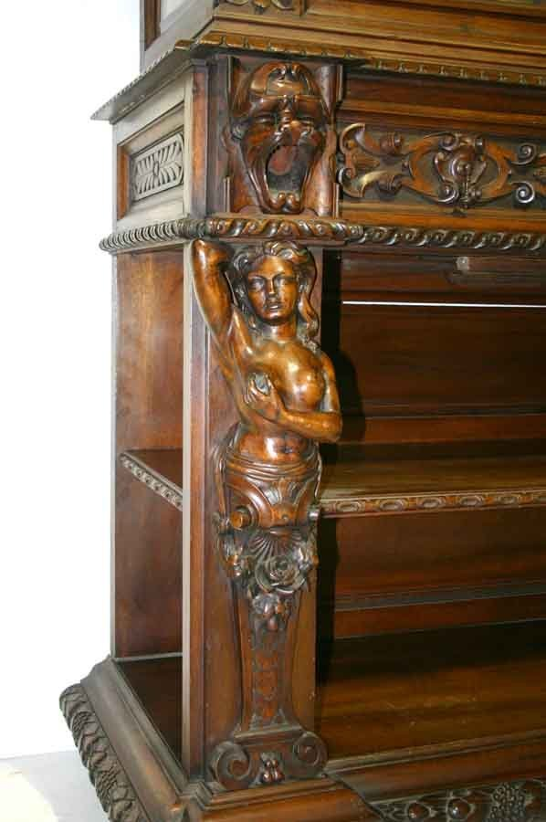 8: Victorian Renaissance Parlor Cabinet with Figural Ca