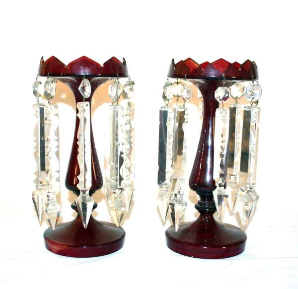 9: Pair of Victorian Ruby Glass Lusters with Long Arrow
