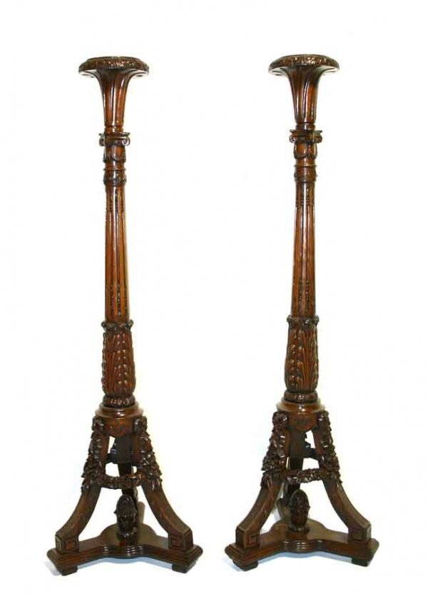 10: Pair of Rococo Carved Mahogany Torchieres. C 1900.