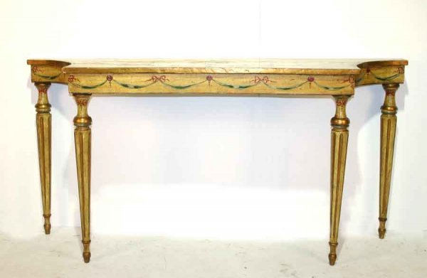 11: 19th c Italian Hand Painted Console Table with Reed
