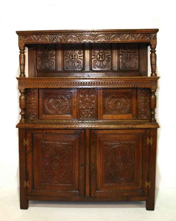 "12: 18th c English Oak Carved Court Cupboard. 72""h x 56"