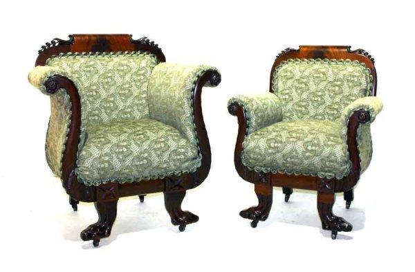 13: Pair of Mahogany Empire Revival Fire Side Chairs wi