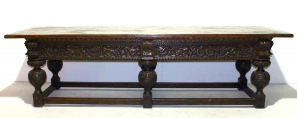 16: 19th c Renaissance Heavily Carved Refactory Table w
