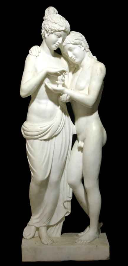 "17: Life Size Marble Sculpture of Greek Couple. 74""h x"