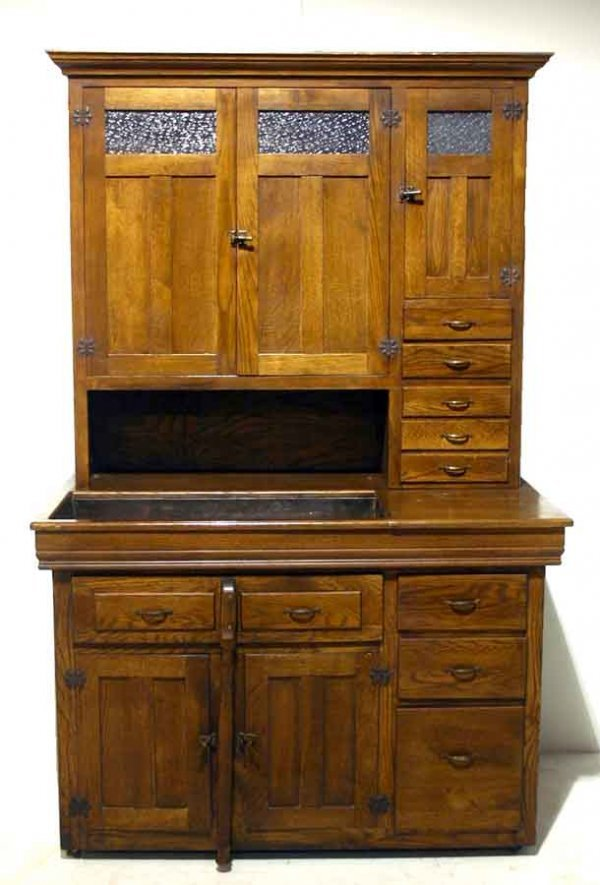 "24: Oak Dry Sink with Pull-Out Base & Cabinet Top. 82""h"