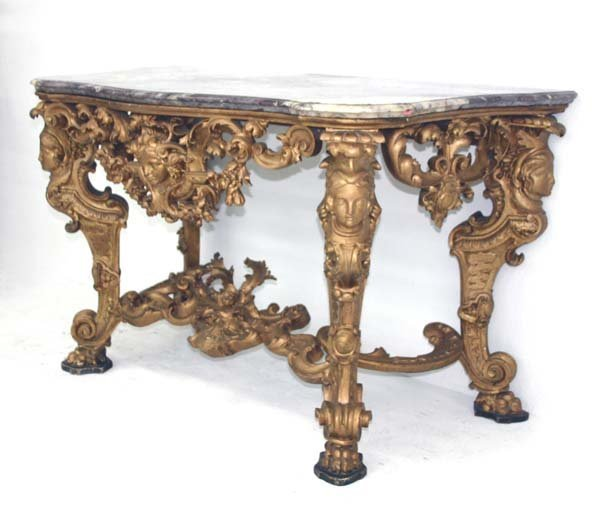 43: 19th C Italian Baroque Marble Top Console Table. Sc