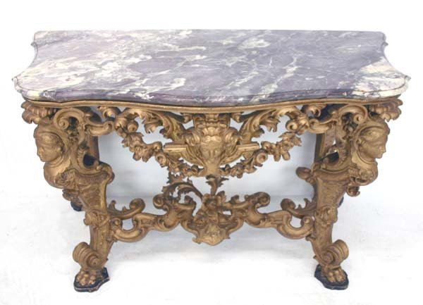 43: 19th C Italian Baroque Marble Top Console Table. Sc - 2