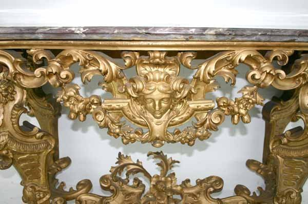 43: 19th C Italian Baroque Marble Top Console Table. Sc - 3