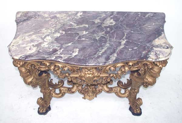43: 19th C Italian Baroque Marble Top Console Table. Sc - 4