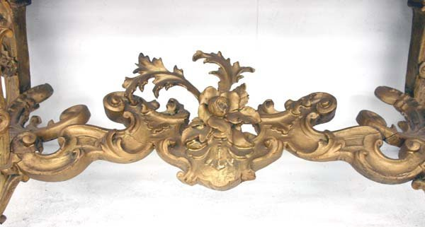 43: 19th C Italian Baroque Marble Top Console Table. Sc - 6