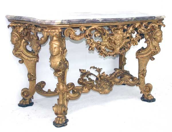 43: 19th C Italian Baroque Marble Top Console Table. Sc - 7
