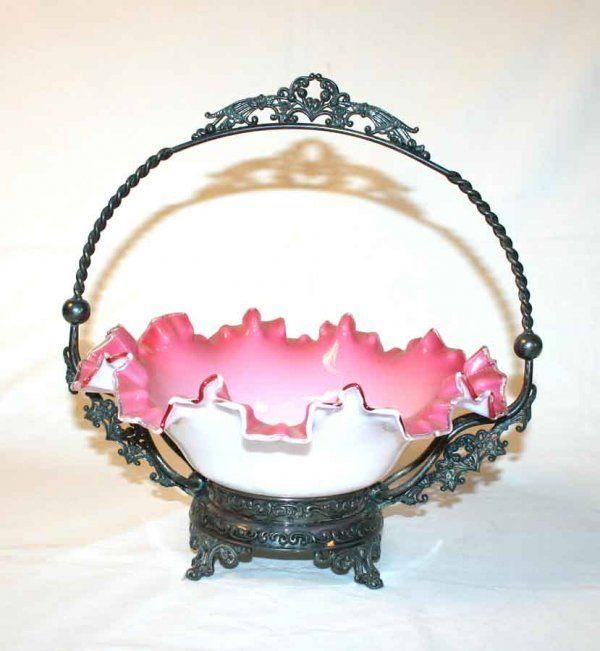 "Victorian Cased Glass Brides Basket. 12""h x 12""d"