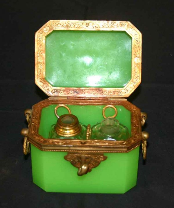 164: Small Green Glass Decanter Set with Bronze Trim. 3