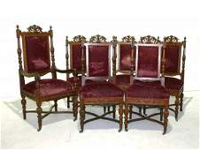 182 Set of Victorian Renaissance Walnut Dining Chairs